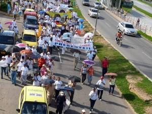 La segunda marcha llegó hasta las instalaciones del Area Metropolitana.