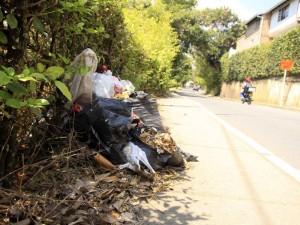 Estas bolsas de basura son las que denuncia que se encuentran ubicadas a lo largo del camino por El Bosque.