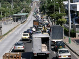 Desde Lagos hasta terminar el Viaducto García Cadena se presenta congestión.