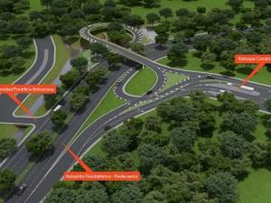 El intercambiador arranca desde Ruitoque Condominio, pasa las dos calzadas de la autopista, por medio de una oreja, que pasa sobre la quebrada Mensulí y accede a la autopista sentido sur – norte.