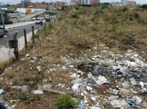 Este lote ubicado sobre la autopista se volvió el basurero del sector.