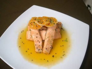 Trucha en salsa de mandarina.