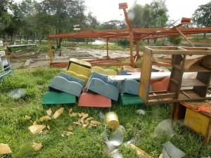 Las estructuras antiguas del parque recreacional ya fueron retiradas, algunas se trasladaron a otros parques.