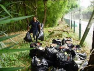 Fueron en total 18 bultos de basura, la cual fue clasificada para uso de la Emaf.