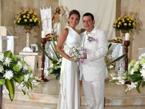Ángela Cabeza y Humberto Vesga en la Parroquia Santa María de Cañaveral. (FOTO Suministrada)