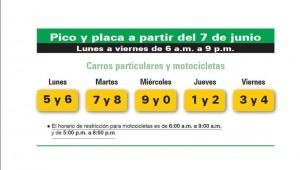 Este es el horario del nuevo pico y placa en Bucaramanga que comenzó a funcionar desde el pasado 7 de junio.