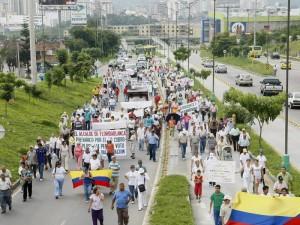 Tres marchas se han realizado en contra del cobro de valorización de la Transversal del Bosque. (FOTO Archivo)