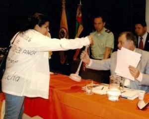 Su más reciente aparición fue durante la visita a Floridablanca del procurador general de la Nación, Alejandro Ordoñez Maldonado.