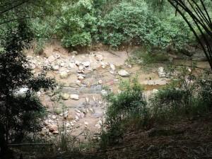 Esta quebrada nace con el nombre de La Calavera, pero por esta zona ya se convierte en la Zapamanga.