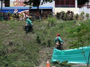 Algunos trabajadores se observaron por la zona de Jarris.