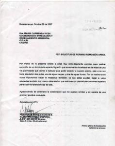 Carta de la iglesia Cristiana de Cañaveral donde pide permiso para la poda de árboles.
