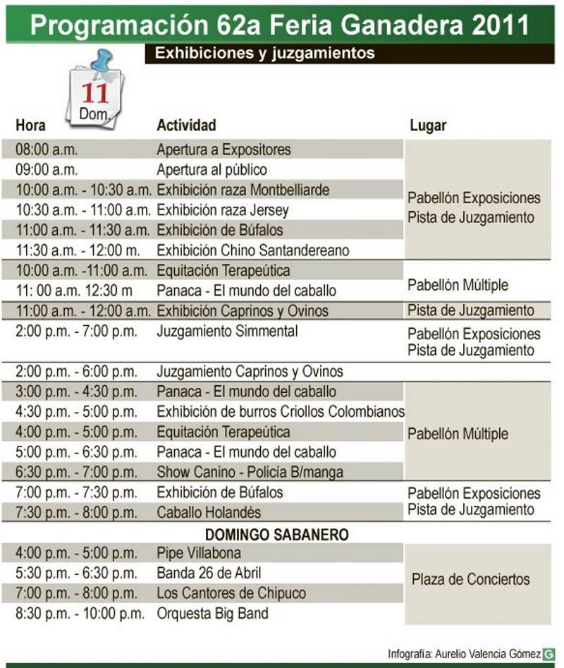 Programación de la Feria Ganadera para el domingo 11 de septiembre.