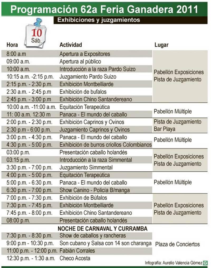 Programación de la Feria Ganadera para el sábado 10 de septiembre.
