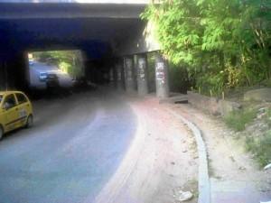 El andén invadido por el pasto y matorrales impide el paso seguro por este sector que conduce de Cañaveral al barrio Lagos.