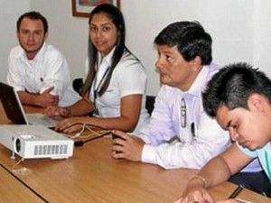 Luis Alfredo Fuentes, Maristella Álvarez, el delegado de la secretaría de Gobierno, Óscar Guarín y el representante de la Cdmb, Edinson Rodríguez.