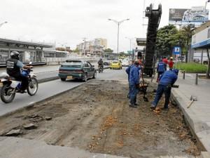 Obras adelantadas por la Alcaldía de Bucaramanga entre La Calleja y Motoreste. Así se veía esta semana, hoy la obra ya fue terminada.