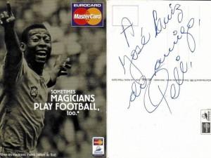 La tarjeta de master card firmada por el rey del fútbol, Pelé, fue una buena excusa para obtener una entrevista exclusiva. (Foto Suministrada)