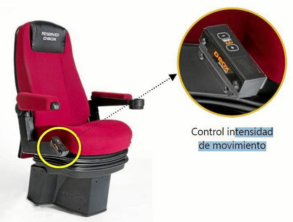 Así son las sillas de las salas 4D con control de intensidad de movimiento.