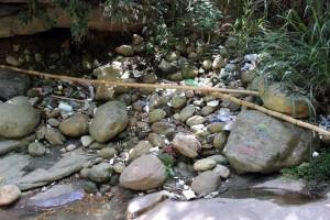 En un recorrido por el tramo se ven basuras, desechos vegetales, corrientes hídricas, plásticos, papeles y hasta un cambuche.  - mauricio Betancourt / GENTE DE CAÑAVERAL