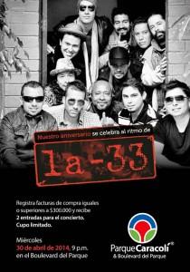 La banda la 33 estará en concierto en Parque Caracolí.  - Suministrada /GENTE DE CAÑAVERAL