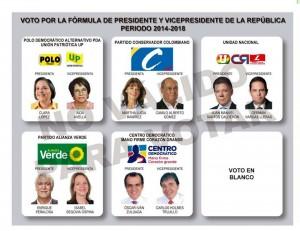 Este es el tarjetón oficial para las elecciones presidenciales. Recuerde llevar su cédula original.  - Tomada de: http://www.registraduria.gov.co/GENTE DE CAÑAVERAL