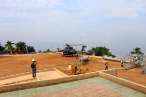 Helicópteros rusos son los encargados de instalar los pilones del teleférico en el parque. - Suministrada / GENTE DE CAÑAVERAL