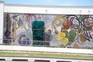 El imponente mural que caracteriza a Cañaveral recibe mantenimiento desde 2008, debido a los daños que sufre por el sol, la lluvia y los movimientos telúricos.  - Javier Gutiérrez /GENTE DE CAÑAVERAL