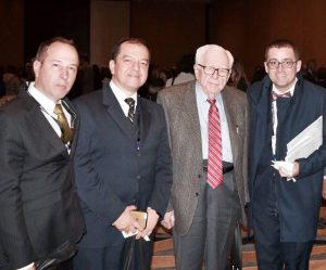 Dr. Carlos Uribe, Dr. Boris Vesga, Dr. Eugene Braunwald (Profesor de la Escuela de Medicina Harvard) y Dr. Juan Karlo Urrea.  - Suministrada/GENTE DE CAÑAVERAL
