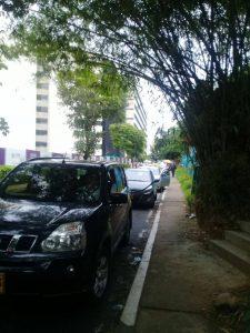 Los petaones aseguran que los carros invaden la vía y la convierten en parqueaderos públicos.  - Suministrada/GENTE DE CAÑAVERAL