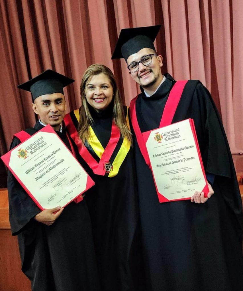 William Eduardo Ramírez Torres, Ana Fernanda Uribe Rodríguez, vicerrectora Académica y Cristian Santamaría Galeano. - Suministrada/GENTE DE CAÑAVERAL